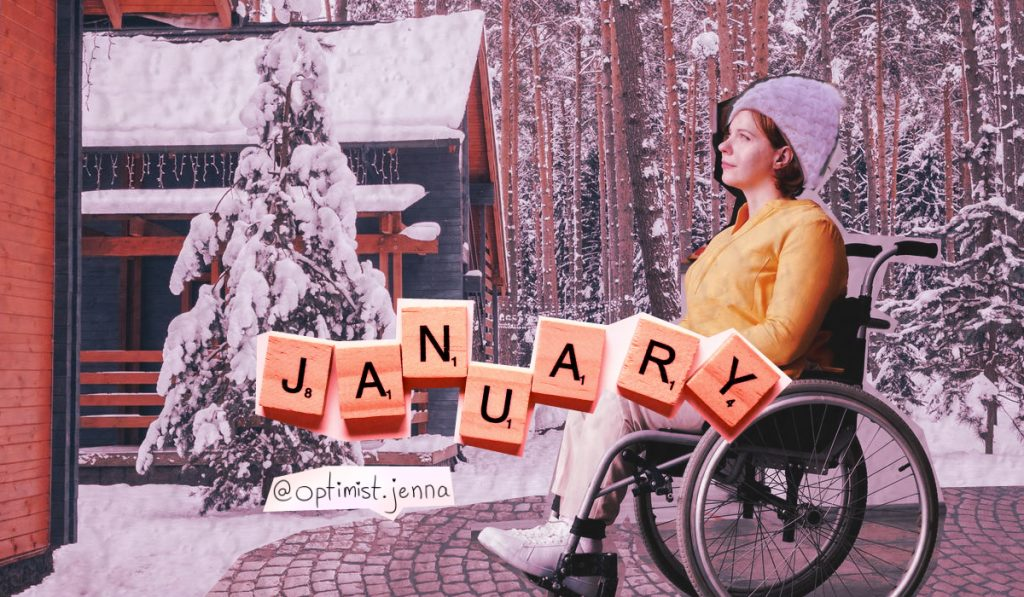 collage of disabled woman in a wheelchair outdoors in january